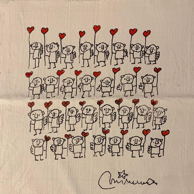 Viele kleine Strichzeichnungsfiguren halten Herzenluftballons.