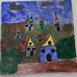 Bunte Häuser in einer dunklen Landschaft unter schwarzen Wolken. Sie sehen aus wie das Haus vom Nikolaus ohne Innenstreben aber mit Türen und Fenstern.