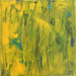 Abstraktes Bild, bei dem Gelb in Grün übergeht und ein wenig Blau durchschimmert.