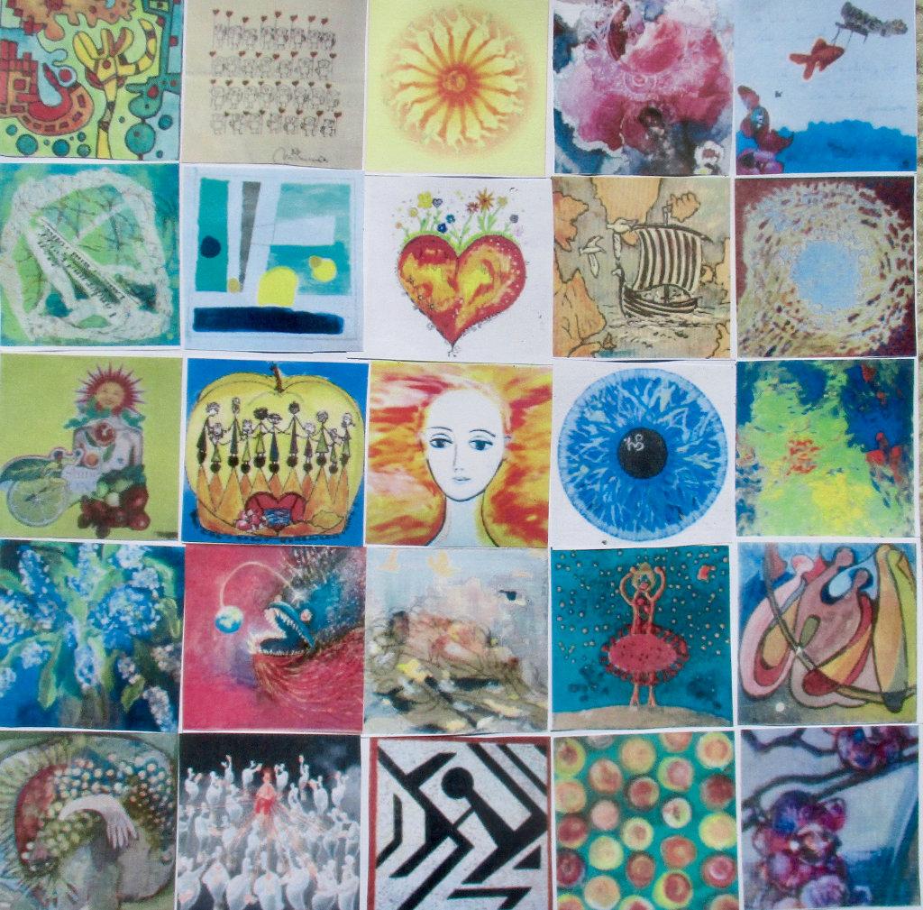 25 Gemälde zu einem großen Bild arrangiert in fünf mal fünf Struktur.