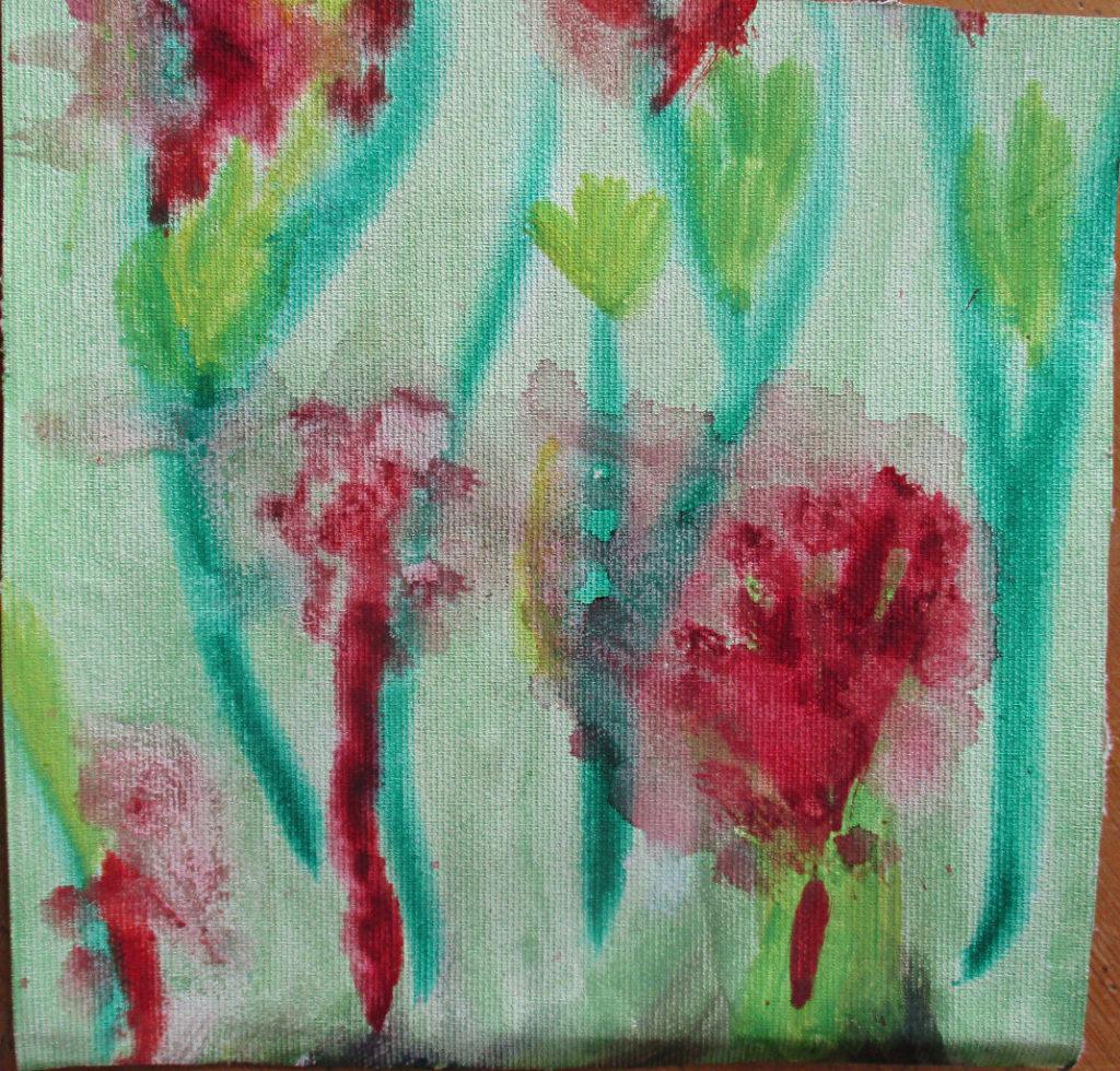 Rote und grüne Blumen auf türkisfarbenem Hintergrund in Aquarelltechnik