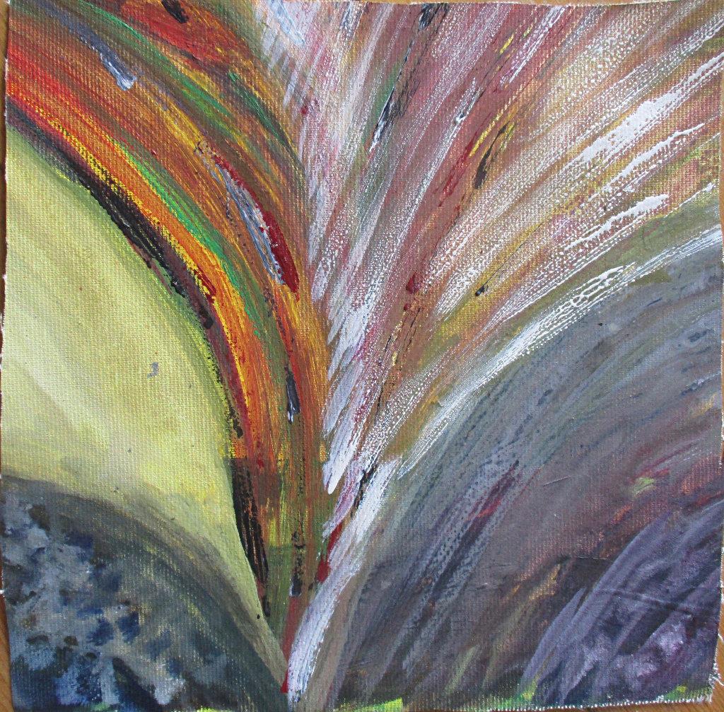 Ein Fächer oder Gefieder in roten und bräunlichen Strichen über Graublau.