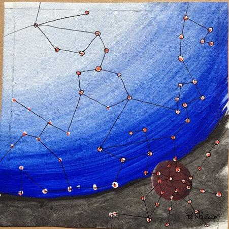 Verbundene rote Punkte vor blauer und rotbrauner Kugel