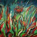 Wahlweise Feuer und Flamme oder ein Blütenmeer. Rot züngelt etwas zum sich im dunklen fahlen Horizont verlierenden Bildrand.