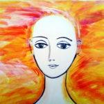 Ein schneeweißes Frauengesicht (die Leinwand ist an der Stelle nurgrundiert). Vor gelblich rotem Hintergrund, der wie flammendes Haar aussieht