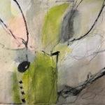 Abstraktes Bild mit viel Grüngelb und schwarzen, zeichnerischen Elementen