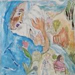 Aus einem hellblauen, bildhohen Cape löst sich links ein Gesicht und eine Hand und überschaut eine pastellenes Dorf. Menschen sitzen im Park an einem kleinen Bach.