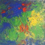 Abstraktes Gemälde, das an die Draufsicht einer Blumenwiese erinnert. Es dominieren Blau und Grün mit roten und gelben Einsprengseln.