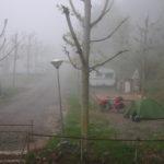 Blick von einer Terrasse hinab auf einen Campingplatz. Grünes Zelt neben Reiserad mit roten Taschen im Nebel