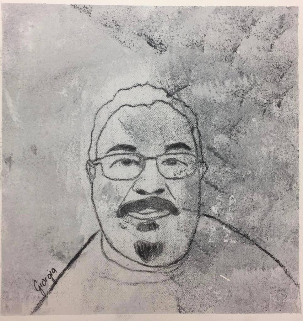 Strichzeichnung Mann mit Brille und Kinnbart und Moustache, Schwarz-weiß.