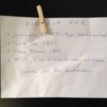 Zettel mit Klammer, handgeschrieben: Einkauf für Journalist F., Tante Ute, die Frau Mama und mich (ich will auch was abhaben.