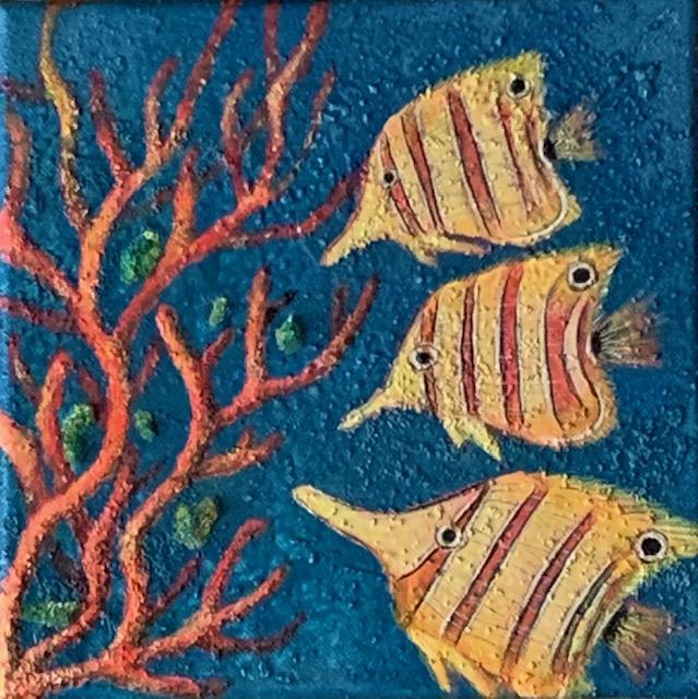 Clownsfische vor Korallen auf strukturierter Leinwand.