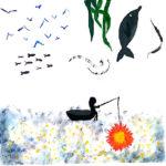 Ein schwarzes Boot mit Angler unter einem traumhaft wässrigen Himmel mit Tang und Fischen fischt nach einer Sonne. Verkehrte Welt.