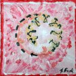 Nasen und Münder als scharze Skizzen im Kreis vor rot-rosa Hintergrund.