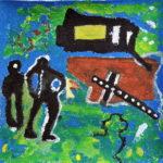 Zwei dunkle gestalten betrachten ein schwarzes Kreuz auf grünlich blauem Hintergrund. Etwas Braunes liegt hinter dem Kreuz.