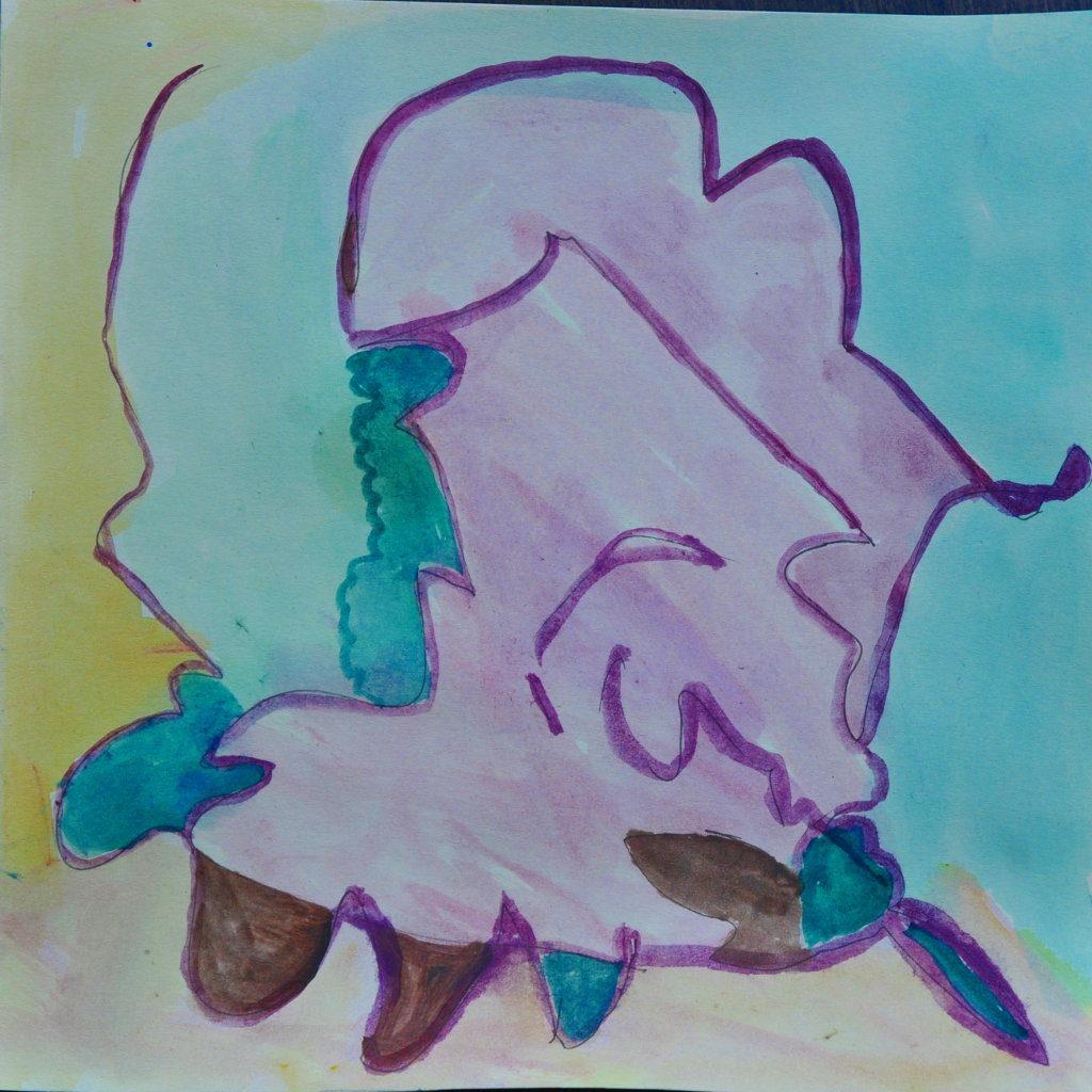 Ein Gesicht blickt nach rechts unten, bzw., die Figur könnte ein abstraktes Ferkel sein mit vier runden parabolischen Füßen.