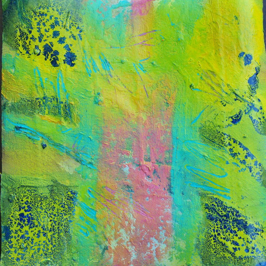 Grüngelb blau und rosa abstrakt mit dunkelblauen Einsprengseln wirkt wie eine gefleckte Trikolore.