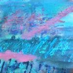 Blaue wellenähnliche, abstrakte Fläche.