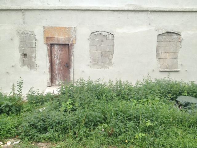 Hausmauer, durchbrochen von drei mit Backsteinen verschlossenen Fensterlöchern und einer Holztür, die unbenutzt aussieht. Im Vordergrund zugewuchertes Gebüsch.