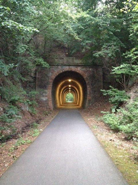 Ein kurzer, aber mit fünf Deckenlampen gut beleuchteter Tunnel in der Bildmitte. Oben drüber und drumrum ist er von Bäumen und Sträuchern bewachsen, eine schmale Teerstraße führt von vorne nach hinten mittig durchs Bild.