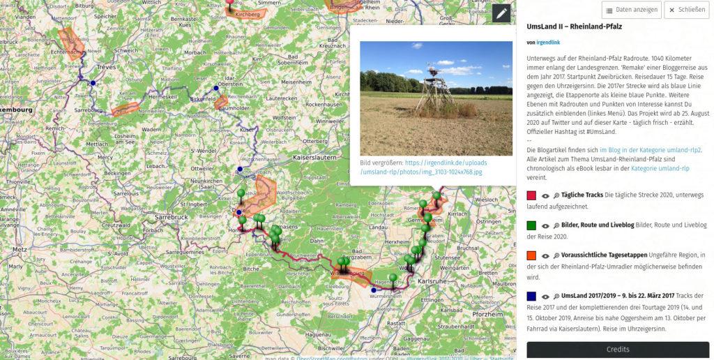 Screenshot der Karte mit der Streckenführung, integrierten Bildern und einer rechtsseitigen Infotafel