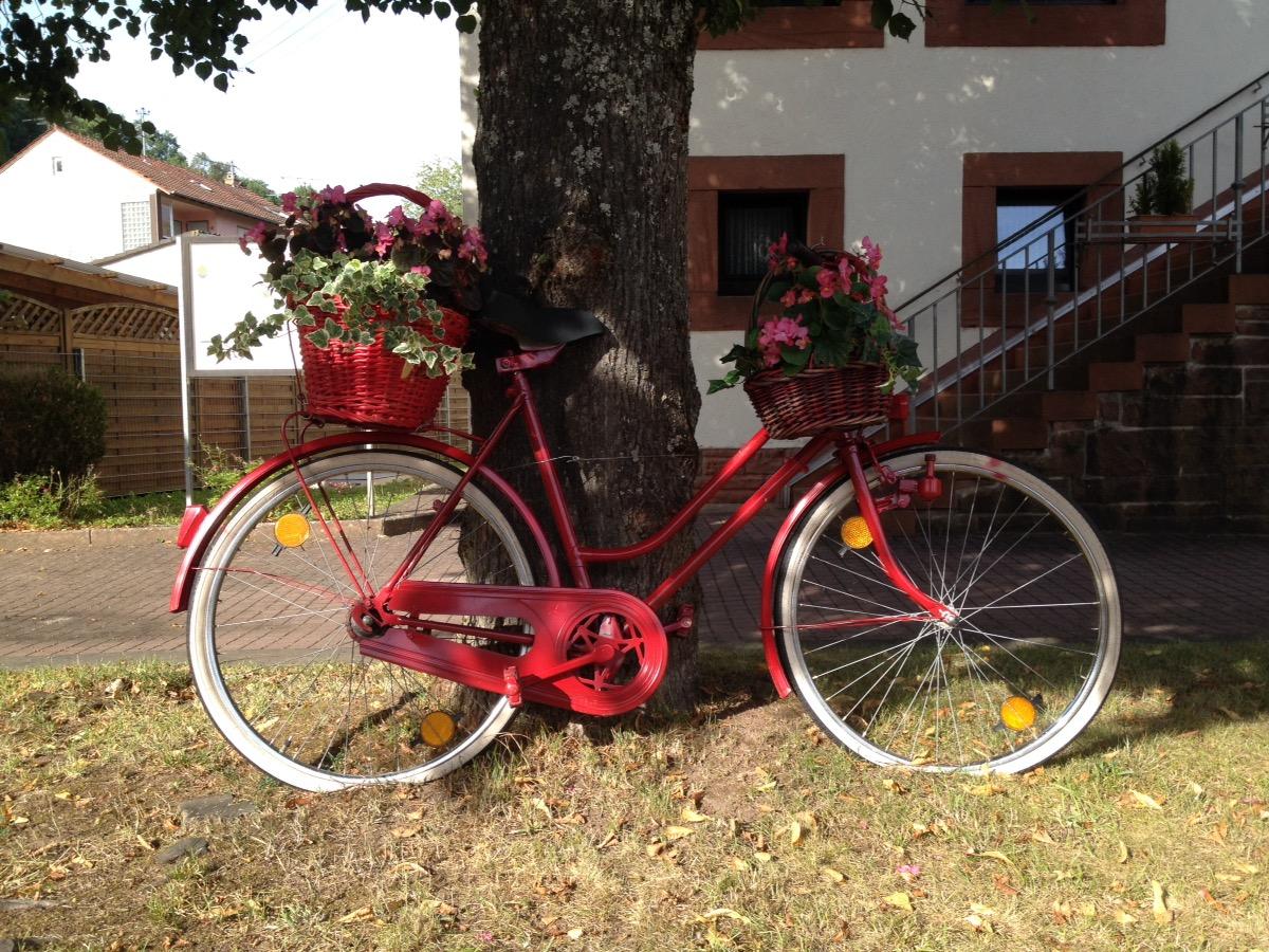 Rotes Dekoradel mit Blumenampel