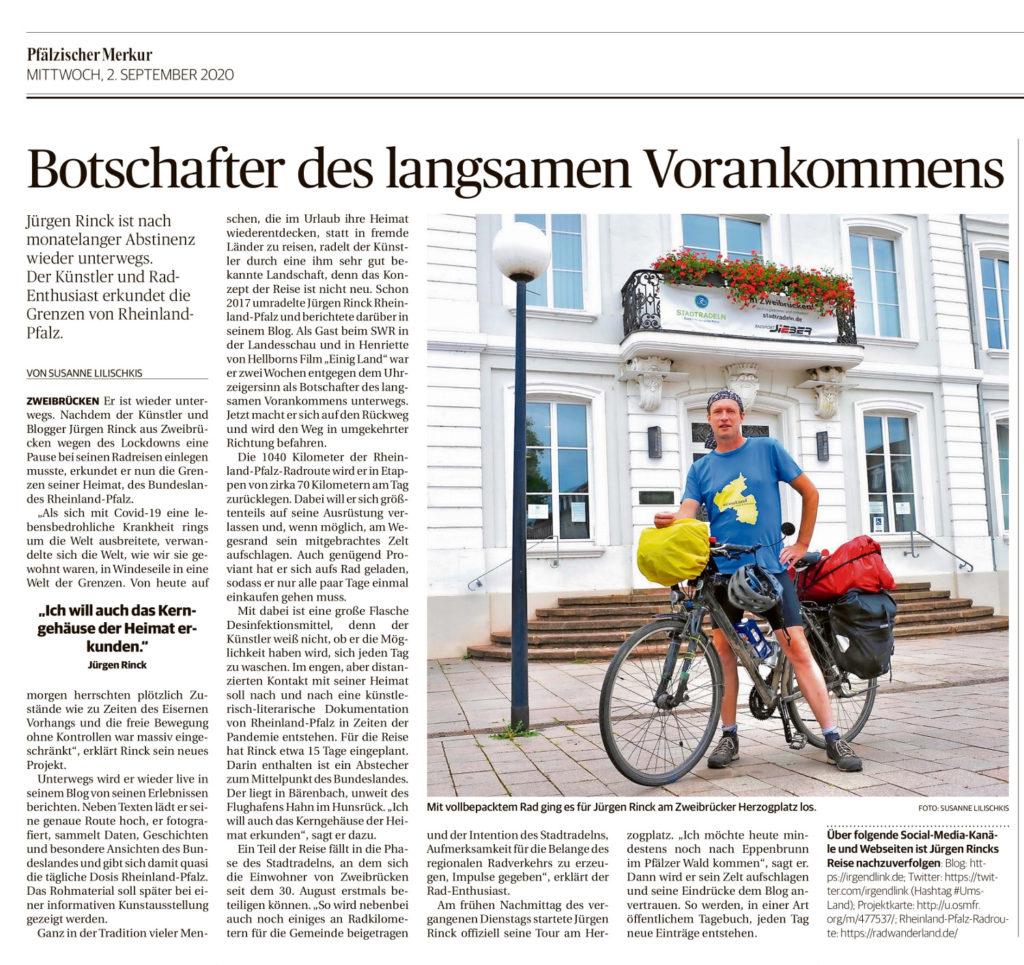 Zeitungsartikel im Pfälzischen Merkur über das Radprojekt