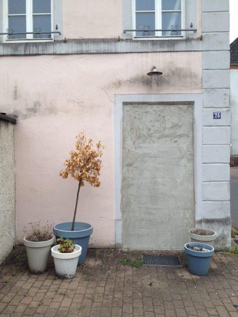 In der Bildmitte eine zubetonierte Türöffnung inmitten einer rosa gestrichenen Hausfassde. Auf dem rot gepflasteren Vorplatz stehen rechts und links der Tür total fünf verdorrte Kübelpflanzen. Am Hauseck hängt die Hausnummer 24.