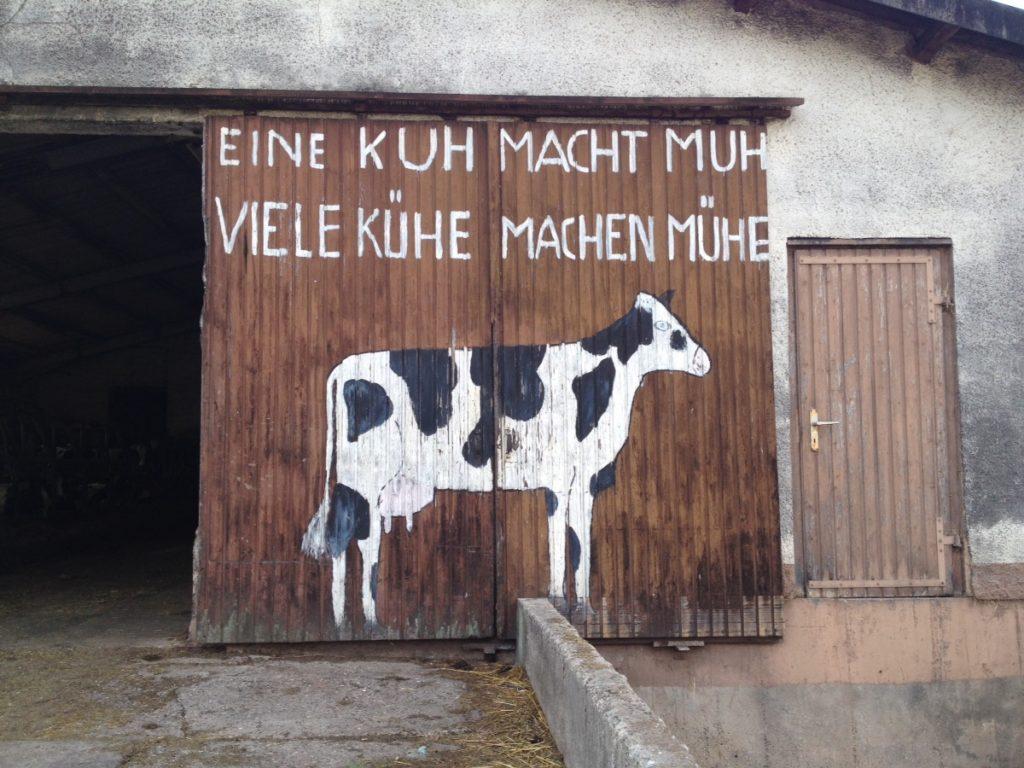 Schiebetor aus Holzbrettern, Aufgemalte Kuh und der Spruch: Eine Kuh macht Muh, viele Kühe machen Mühe.