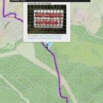 Kartenausschnitt mit darüber liegendem Popup eines Bilds, das ein Verbotsschild hinter engmaschigem Drahtzaun zeigt.
